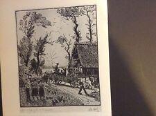 1930s woodcut print La derniere gerbe en Normandie by Le Meilleur