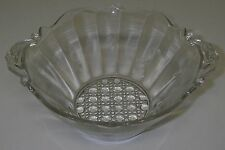 Lancaster Glass LANDRUM Clear Bowl Handled Scroll Cane Elegant Depression.