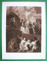 NUDE Landing of Mary Marie de Medici Nymphs - SUPERB Victorian Era Antique Print