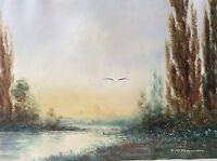 Belle aquarelle paysage cigogne signée illisible XIXe début XXe Alsace migrateur