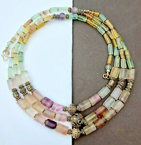 Old cut rainbow banded fluorite 925 sterling silver bead ethnic necklace vintage