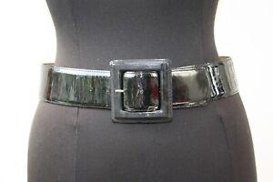 """Amboise Paris Black Patent Leather Statement Waist Belt Size M 32"""""""