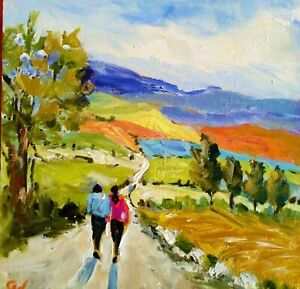 """Original Oil Painting ~""""A Stroll Through The Countryside""""~6"""" x 6"""" Wood Panel"""