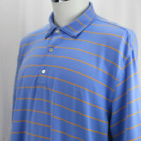 Peter Millar Summer Comfort Polo Blue Orange Striped Shirt Short Sleeve Size XL