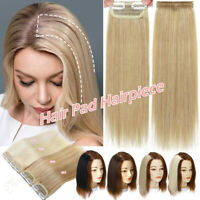 """4""""-12"""" Hairpiece Clip In Hair Pad Extensions 100% Human Hair Thickened Hair Root"""