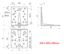 105mm Reinforced Galvanised Angle L Brackets Corner Brace Timber 2 5mm T 4