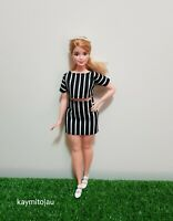 Curvy black & white stripe fashion outfit For Your Curvy Barbie Doll Au Made
