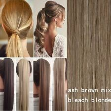 Ladies Wrap On Ponytail Clip in Pony Tail Real Thick Hair Extensions Brown Black