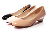 Womens Shoes Patent Leather Low wedge Heel Round Toe Pumps Slip on Casual Loafer