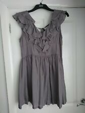NEXT PEWTER RUFFLED 100% SILK DRESS SIZE 16 RRP£45..  Excellent cond.