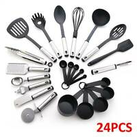 24pcs Kitchen Silicone Cooking Utensils Set Non-stick Spatula Turner Tong Spoon