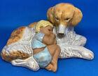 "Large Jie Sweden Ceramic Sculpture Baby & His Dog Guardian 9"" Long, Precious!"