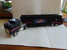 1986 BLACK HOT WHEELS CAR GO CARRIER TRANSPORT TRUCK & CARRY CASE