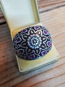 Wunderschöner Damen Silberring mit Emaille, breiter Bandring Floral,18 ansehen!