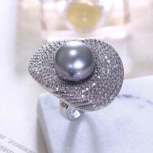 18k White Gold Bold Ring made w/ Swarovski Crystal Pave Stone Genuine Gray Pearl