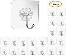 20 Pcs Adhesive Sticky Hooks Heavy Duty Wall Seamless Hooks Hangers Transparent
