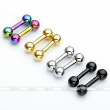 4Pair Steel 14G 6mm Bar Ear Cartilage Tragus Helix Ring Piercing 4mm Ball
