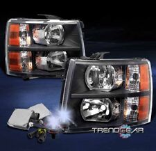2007-2013 CHEVY SILVERADO PICKUP CRYSTAL HEADLIGHT LAMP BLACK/AMBER W/8000K HID