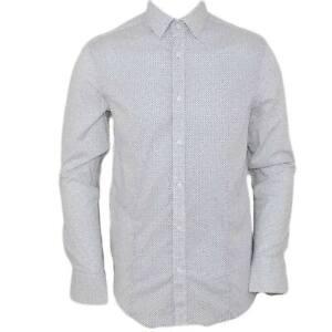 Camicia uomo cotone bianco pois collo rigido manica lunga motivo astratto blu ch