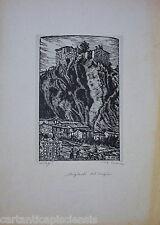 """XILOGRAFIA Gravure Etching Romeo MUSA """"Bagnoli del Trigno"""" fine '20 primi '30"""