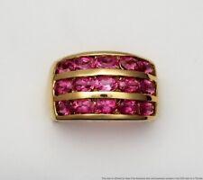 Stylish Brand New 14k Gold Pink Tourmaline 3 Row 13mm Wide Band Ring Size 7.25
