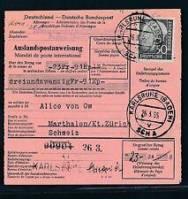 88979) Auslands - Postanweisung EF 50PF Heuss Karlsruhe - Marthalen Schweiz
