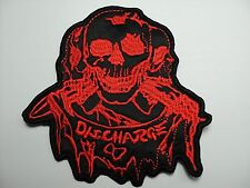 DISCHARGE  RED SKULL  EMBROIDERED PATCH