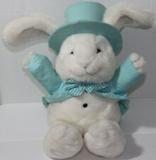 Plush Creations Inc. WHITE BUNNY RABBIT WITH TEAL SUIT AND TOPHAT Stuffed Toy