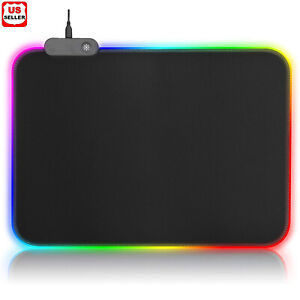 Gaming Mouse Pad RGB LED Light Color Switching For Computer Laptop Colorful USA