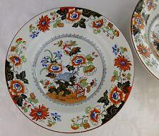 "Ashworth ""Open Bible"" 2 rimmed soup bowls Imari colors 19th century English"