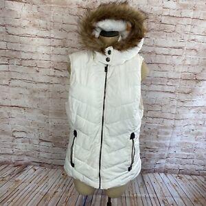 Green Tea Womens L Puffer Vest Cream Hooded Super Soft Fleece Lining Faux Fur