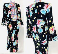 Vintage SONIA RYKIEL 2pc Black Floral Statement Skirt Jacket Suit, S/XS STUNNING