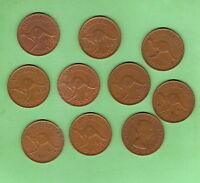 TEN  1958  AUSTRALIAN KANGAROO DESIGN  PENNY COINS