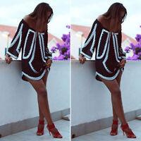 Summer Women Boho Loose Tops Off Shoulder Beach Shirt Blouse Mini Dress S/M/L/XL