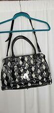 Abro Black Tan Patent Leather Diamond Print Large Handbag