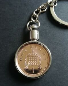 18th Birthday gift 2003 Lucky Penny Keyring UK 1p penny, comes in a GIFT POUCH