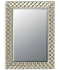 John Lewis Wall Mirror Bevelled Wood Mosaic Champagne Antique Silver 66x56cm