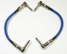 """2 PACK 6"""" Right-Angle 1/4 Mono Guitar Effect Pedal Board Cable Patch Cord BLUE"""