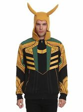 MARVEL COMICS LOKI ZIPPER HOODIE LOKI HOODED JACKET NEW FREE USA SHIP MARVEL XL