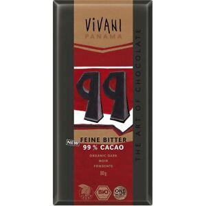 vivani Dark with 99% Panama Cocoa Chocolate  80g (Pack of 10)
