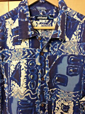 Redsand Men's Blue & White Barkcloth 100% Cotton Hawaiian Aloha Camp Shirt L