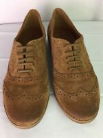 Arturo Chiang Lumia Round wingtip toe Camel Suede Laced-Up Loafers Women SZ 6M