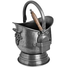 ANTIQUE PEWTER COAL BUCKET WITH SHOVEL - USEFUL STORAGE ITEM FOR COAL
