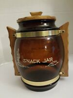 VINTAGE AMBER BROWN GLASS SIESTA WARE SNACK COOKIE JAR WOOD TOP HANDLES