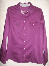 MARKS AND SPENCER MAGENTA SPOTTED SEMI FITTED SHIRT BLOUSE SIZE 12