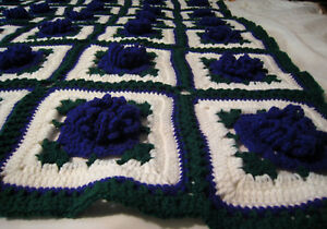 HANDMADE Crochet AFGHAN Knit THROW vtg PURPLE FLOWER Quilt COUCH Lap BED BLANKET