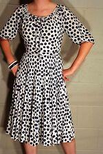S Vtg 70s SECRETARY DRESS  SHEER Pleated SKIRT Fit & Flare White NAVY DOT WHITE