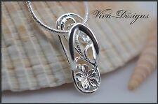 925 Sterling Silver flower Art Cute Flip-Flop Charm Pendant