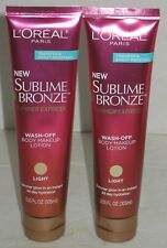 2 NEW L'oreal Paris Sublime Bronze LIGHT Wash-Off Body Makeup Lotion 3.55 Fl Oz