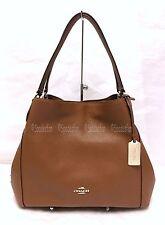 Coach 36464 Edie 31 Pebbled Leather Shoulder Bag Purse SADDLE BROWN NWT